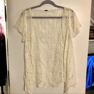 Short sleeve white lace sweater